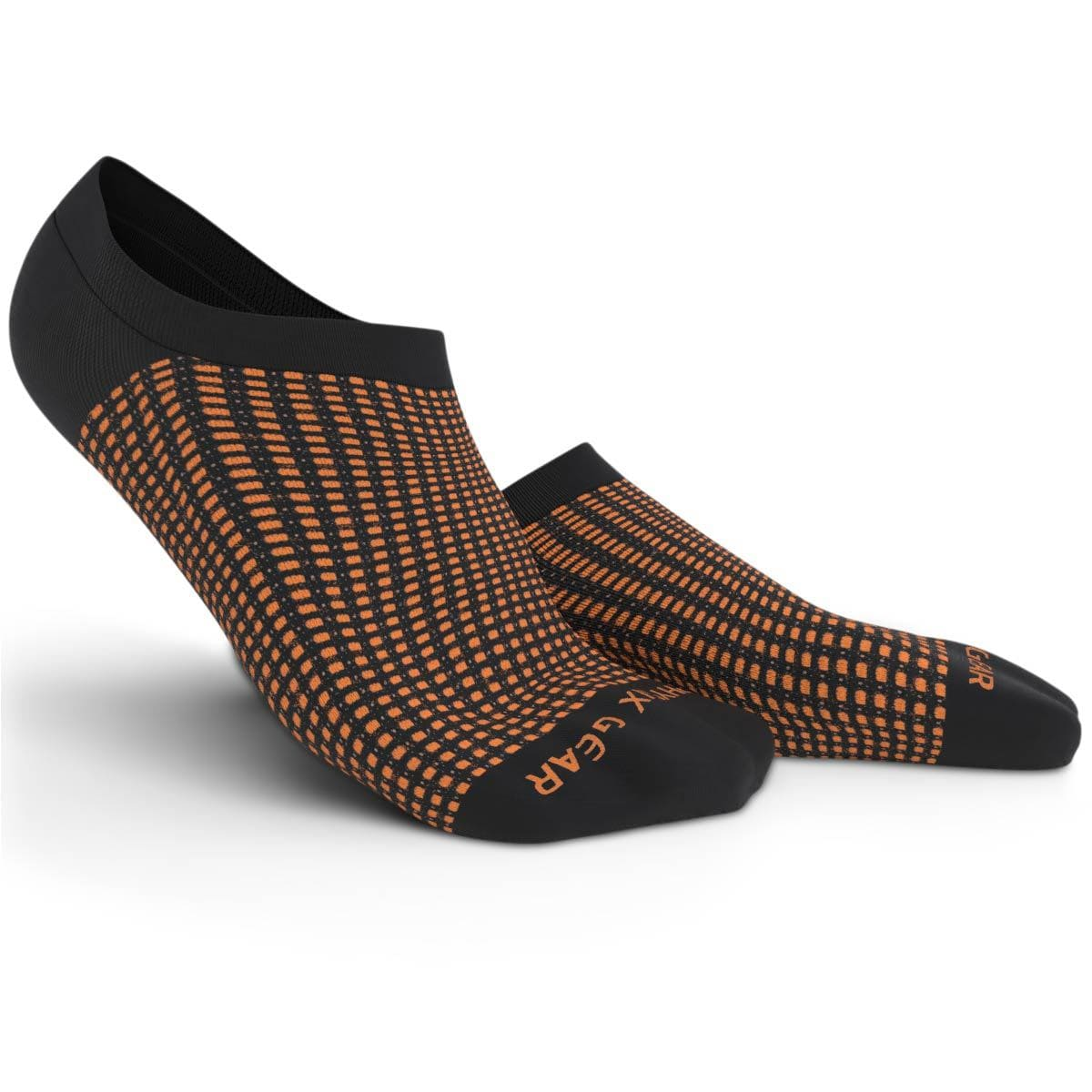 No Show Socks - Black & Orange 3 Pairs (Ankle High)-Physix Gear Sport