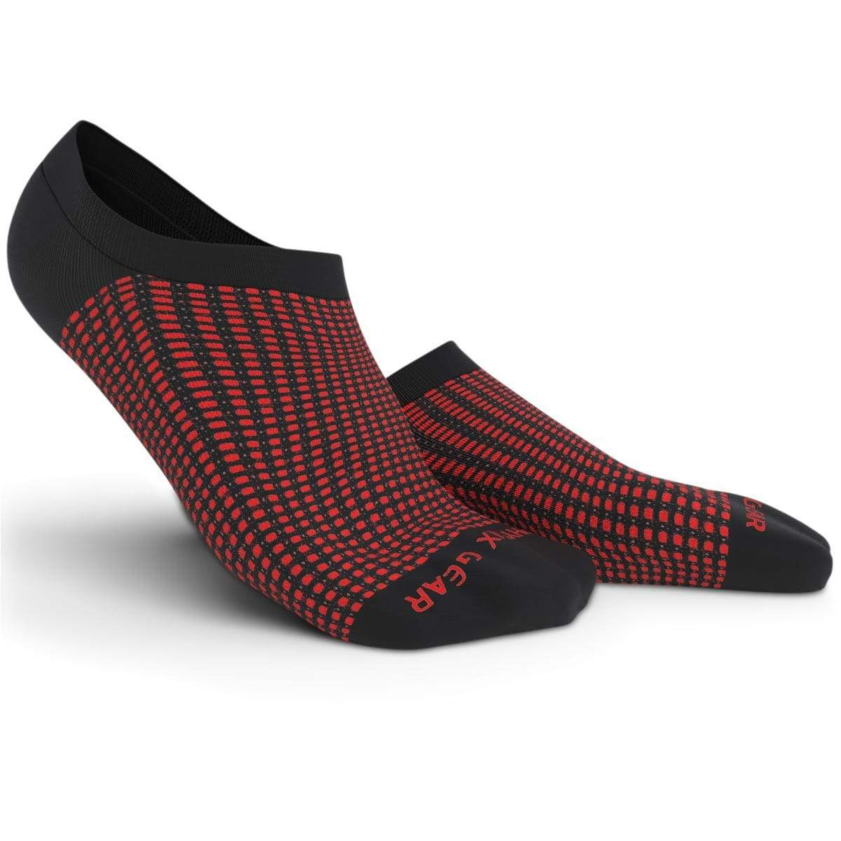 No Show Socks - Black & Red 3 Pairs (Ankle High)-Physix Gear Sport