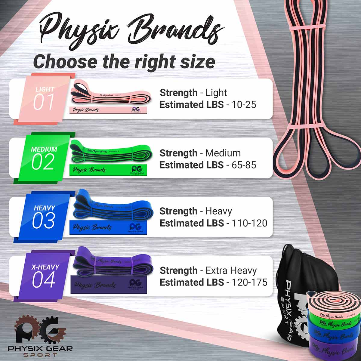 Pull Up Bands - Combo Pack (All Colors)-Physix Gear Sport