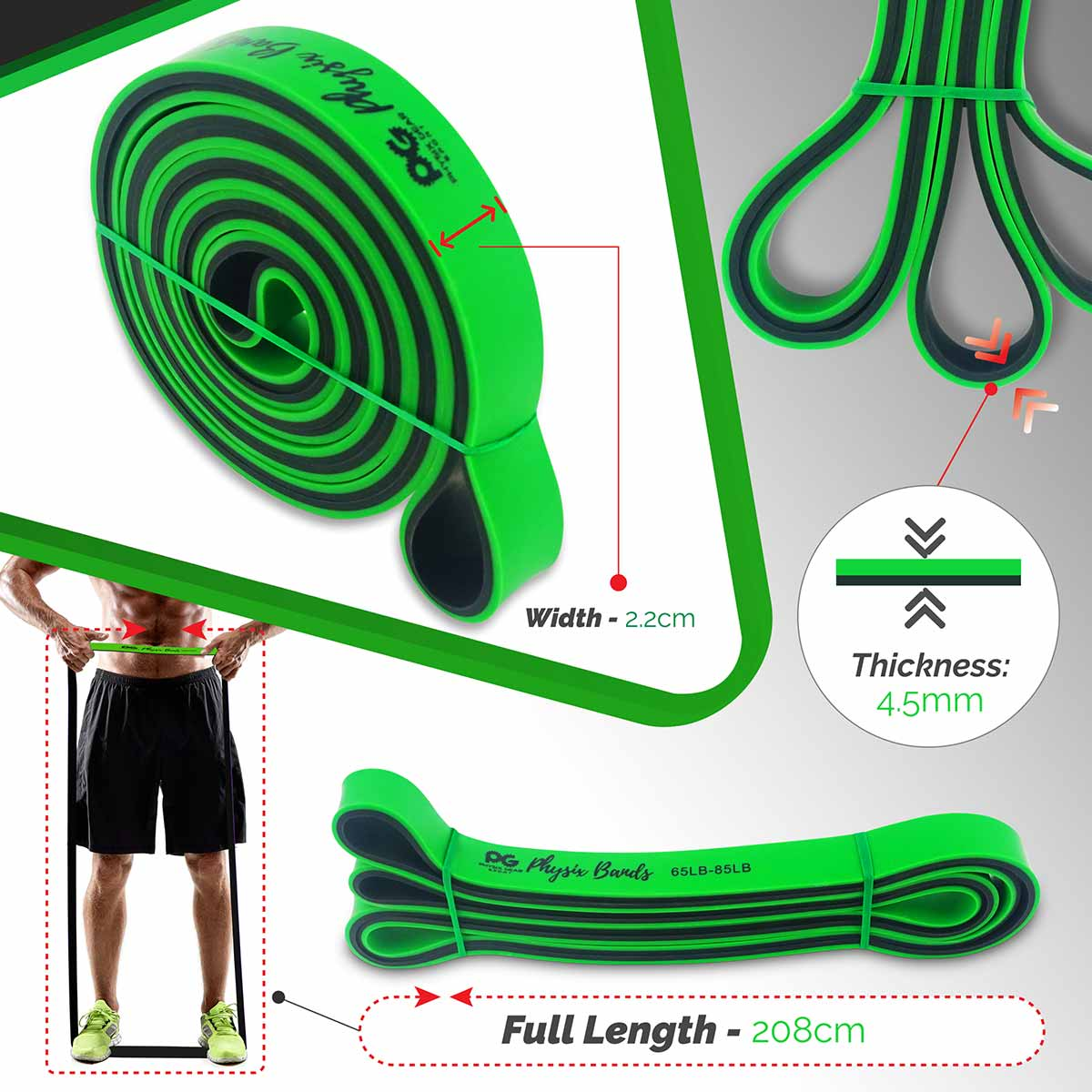 Pull Up Bands - Green (65lbs-85lbs)-Physix Gear Sport