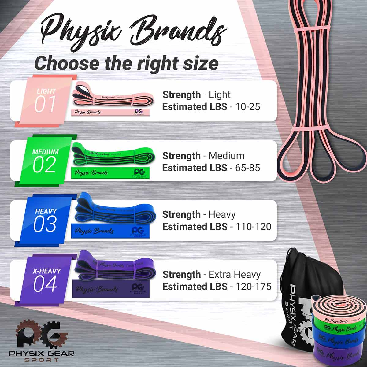 Pull Up Bands - Pink (10lbs-25lbs)-Physix Gear Sport