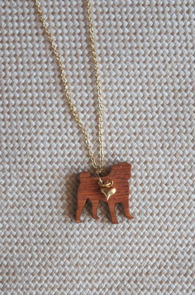 Bulldog Pug Wood Love Heart Necklace Puppy Dog - maidenlaneboutique