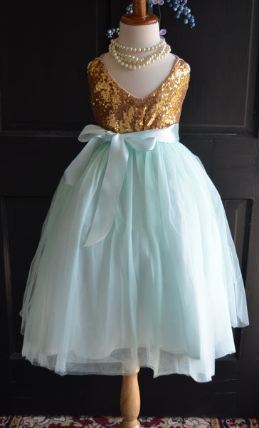 Iced Mint Tulle skirt with Sash - maidenlaneboutique