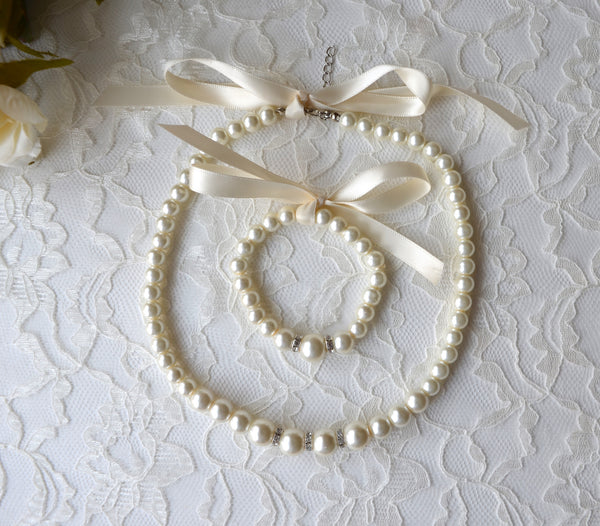 Pearl Necklace Bracelet Set Bridesmaid Flower Girl Jewelry - maidenlaneboutique