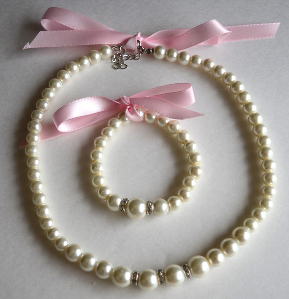 Pink Pearl Necklace Bracelet Set Bridal Jewelry - maidenlaneboutique