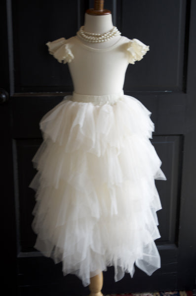 Girls Ivory Cream Long Ruffled Tulle Skirt - maidenlaneboutique