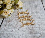 Wedding Place Card Holders Gold Antlers Rustic Set of 6 - maidenlaneboutique