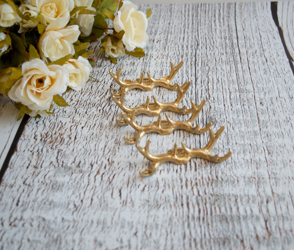 Wedding Place Card Holders Gold Antlers Rustic Set of 6