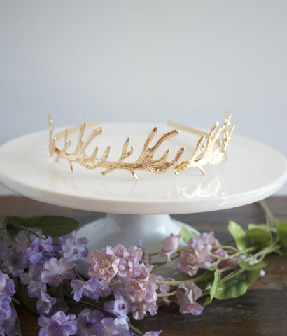 Gold Antlers Wedding Headpiece Tiara