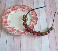 Maroon Cranberry Flower Crown Headband - maidenlaneboutique