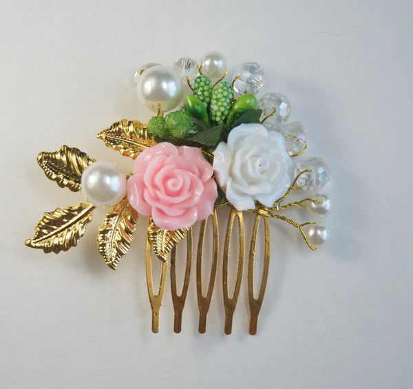 Wedding Hair Comb Pink Ivory Flower - maidenlaneboutique