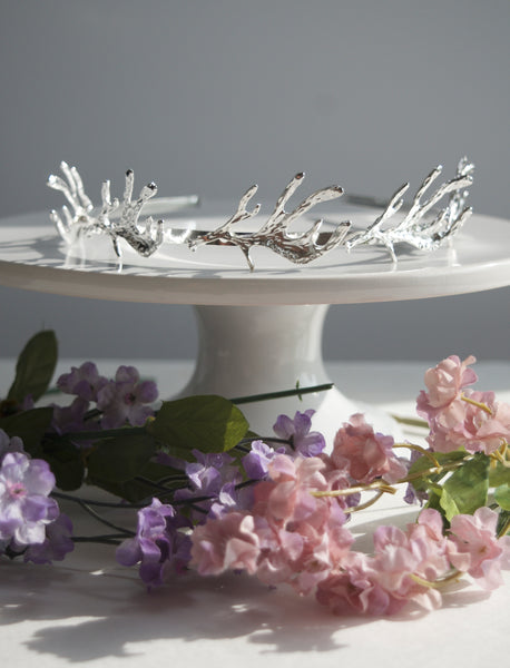silver antlers bridal headpiece