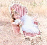 Girls Long White Tulle Skirt Tutu with Sash - maidenlaneboutique