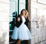 light blue tulle skirt