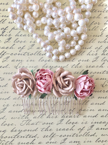 Blush Rose Flower Hair Comb Bride Rustic