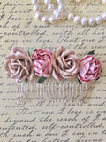 Blush Rose Flower Hair Comb Bride Rustic - maidenlaneboutique