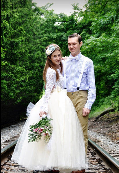 long ivory tulle skirt