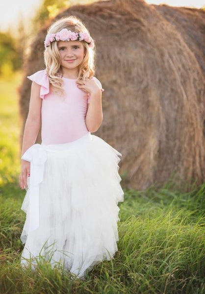 Girls Long White Ruffled Tulle Skirt - maidenlaneboutique