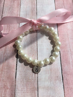Flower Girl Monogram Pearl Bracelet - maidenlaneboutique