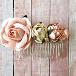 Blush Rose Flower Hair Comb Bride Bridesmaid - maidenlaneboutique