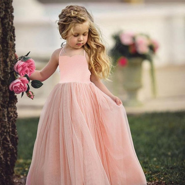 Toddler Girl Princess Blush Tulle Dress Maxi - maidenlaneboutique