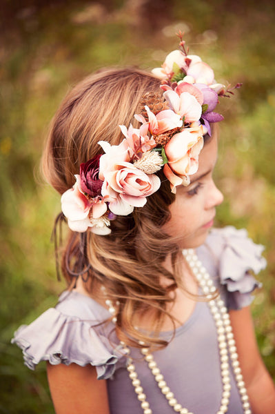 Plum Rose Flower Crown Halo Headpiece - maidenlaneboutique