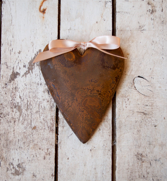 rusty tin heart ornament