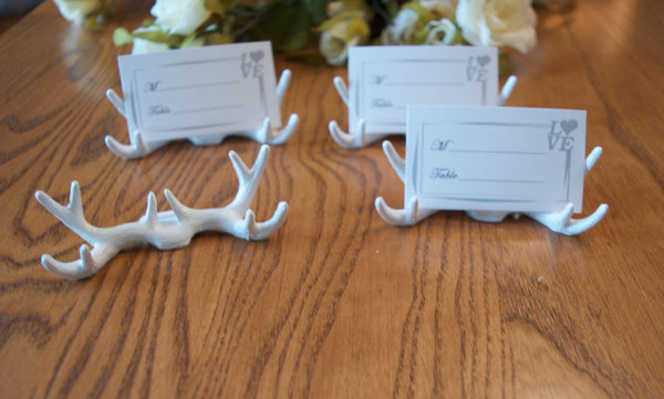 Antlers Place Card Holders, Wedding place card holders, Rustic wedding place card holders, White deer antlers, Set of 6 Place card holders