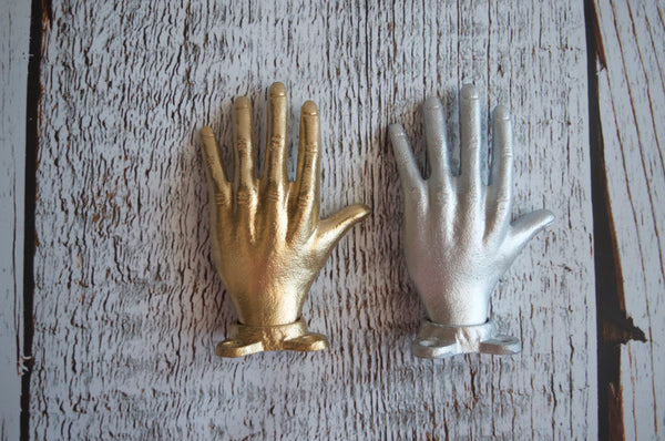 Cast Metal Hand Wall Hook gold silver - maidenlaneboutique