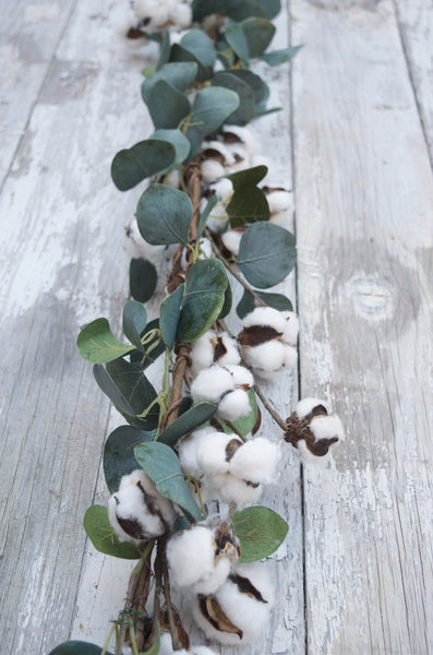 Natural Cotton Eucalyptus Garland, Christmas Natural Garland, Farmhouse Christmas Garland, Eucalyptus swag, Cotton Swag, Wedding Garland - maidenlaneboutique