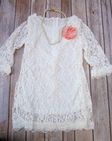 Off White Lace Flower Girl Dress - maidenlaneboutique