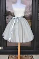 Silver Gray Tulle skirt - maidenlaneboutique