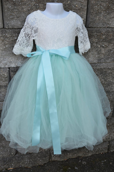 Aqua Mint Long Tulle Skirt lace blouse set - maidenlaneboutique