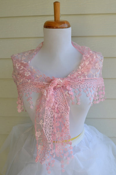 Pink Lace Scarf, Pink Mantilla scarf, Lace scarf, lace shawl, shawl scarf, pink scarf - maidenlaneboutique