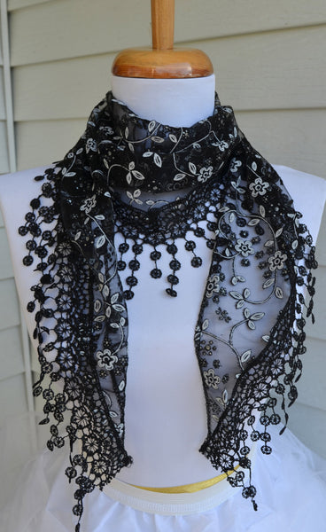 Black Lace Mantilla Scarf - maidenlaneboutique