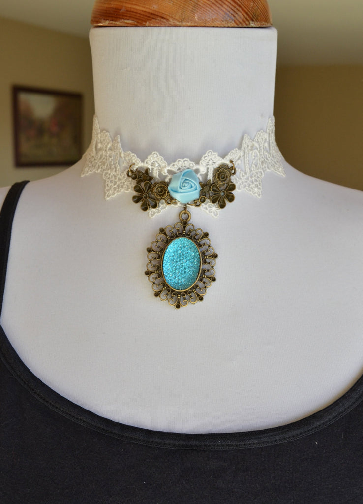 Victorian Lace Choker Necklace Blue Crystal Rhinestone Rose Bridal Jewelry Edwardian Regency - maidenlaneboutique