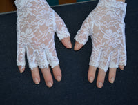 White Lace Wedding Gloves, Bridal gloves, fingerlass gloves, bridal lace, white lace gloves, gothic - maidenlaneboutique