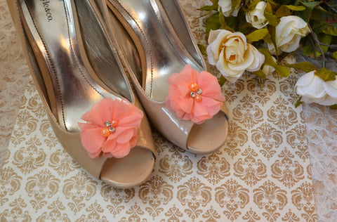 Coral Flower shoe clips - maidenlaneboutique