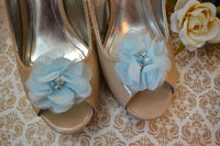 Pastel Blue Flower shoe clips - maidenlaneboutique