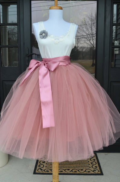 Dusty Rose Pink Tulle skirt - maidenlaneboutique