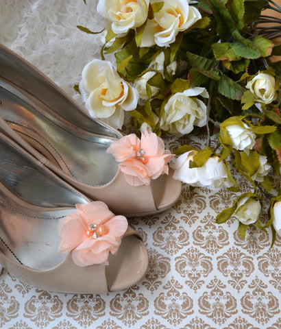 Peach Flower shoe clips - maidenlaneboutique