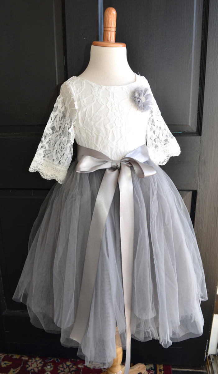 Girls Grey Long Tulle Skirt Lace Blouse Dress