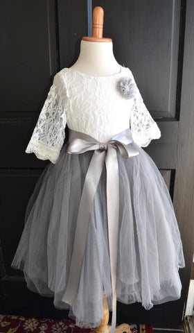 Girls Grey Long Tulle Skirt lace blouse Dress - maidenlaneboutique