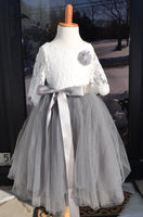 gray lace flower girl dress