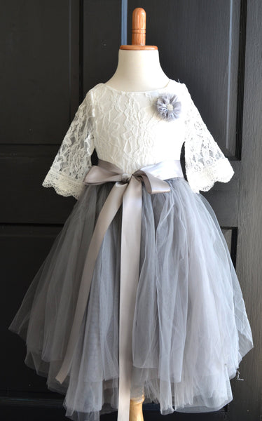 Girls Dove Grey Long Tulle Skirt - maidenlaneboutique