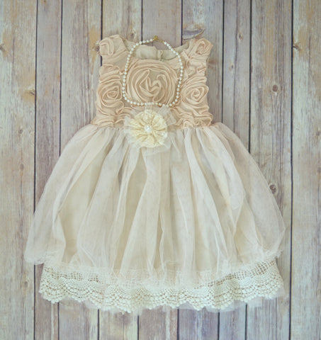 Beige Ivory Lace Flower Girl Dress - maidenlaneboutique