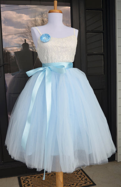 Soft Baby Blue Tulle skirt - maidenlaneboutique