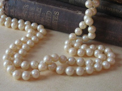 "Long Strand Pearls, Faux Pearl Necklace, 60"" pearl necklace, childs pearl necklace, photo prop - maidenlaneboutique"