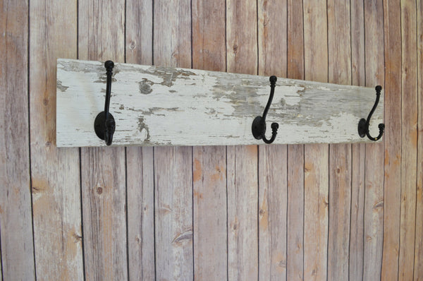 Coat rack Wall Hook Key hook Chippy Shabby Salvaged Barn wood Black Iron Double Hooks upcycled repurposed Rustic