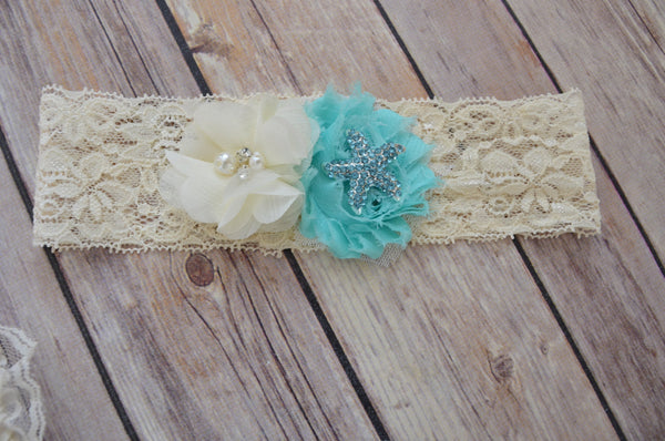 Nautical Beach sash Headband set - maidenlaneboutique